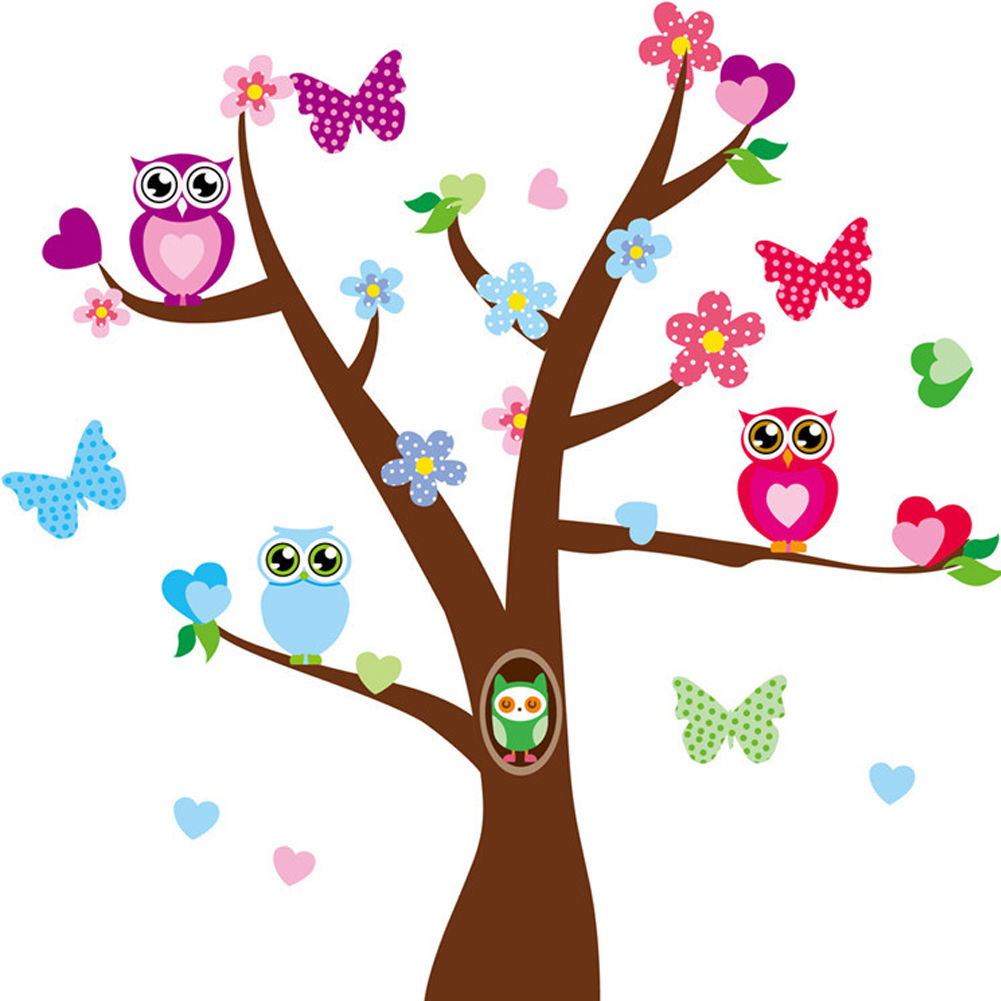 Wall Decal Removable Colorful Cartoon Butterfly Tree Stickers Decor Kids Nursery  sc 1 st  eBay & Wall Decal Removable Colorful Cartoon Butterfly Tree Stickers Decor ...