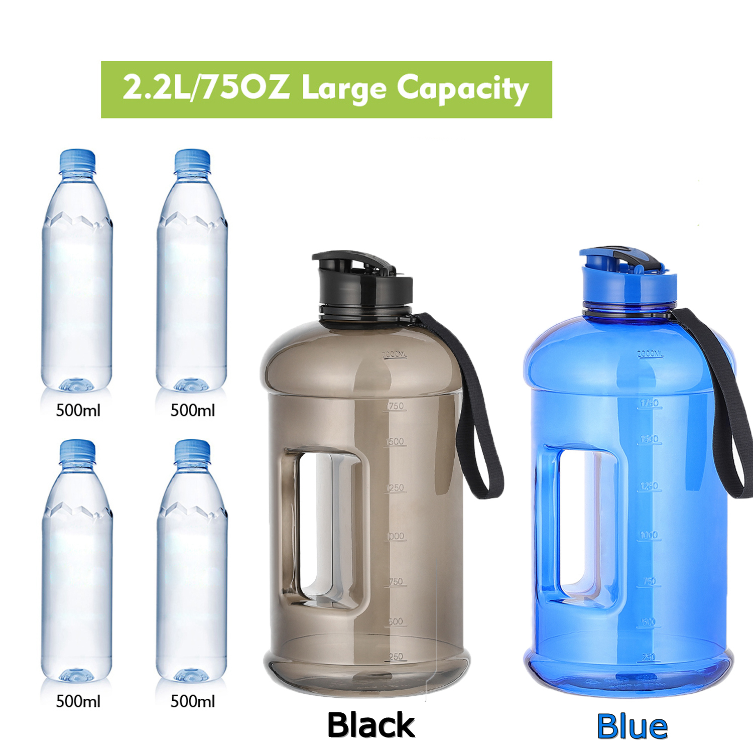100/% BPA-Free Bike Water Bottles for Sports Cycling Outdoor Hiking Camping 1500m