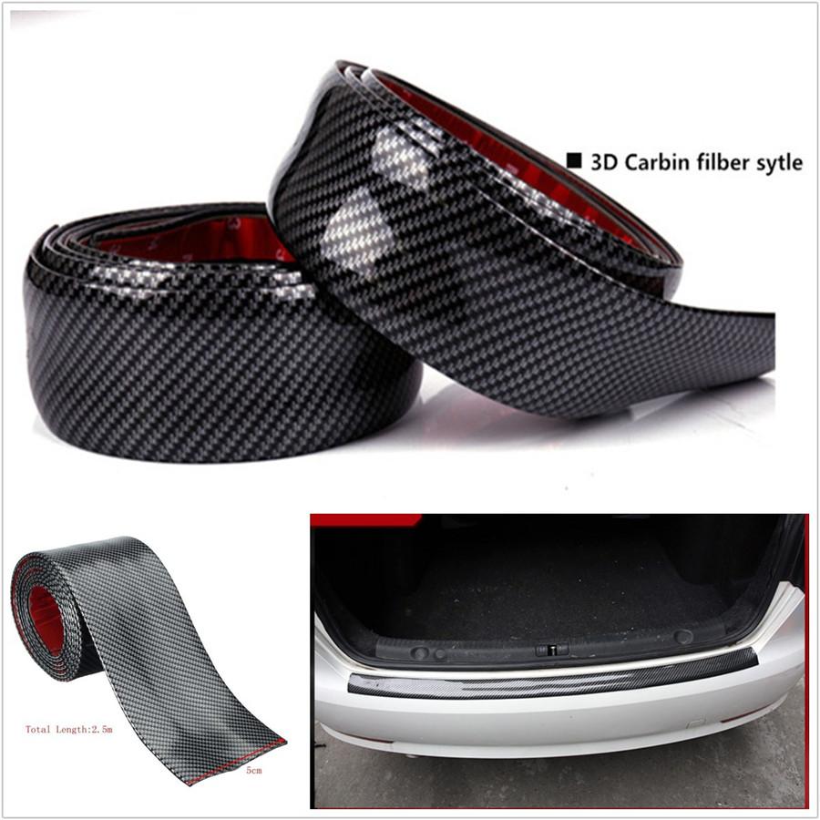 10cmX2m Door Sill Scuff Plate Skirt Eyebrow Protector Sticker Carbon Fiber Color