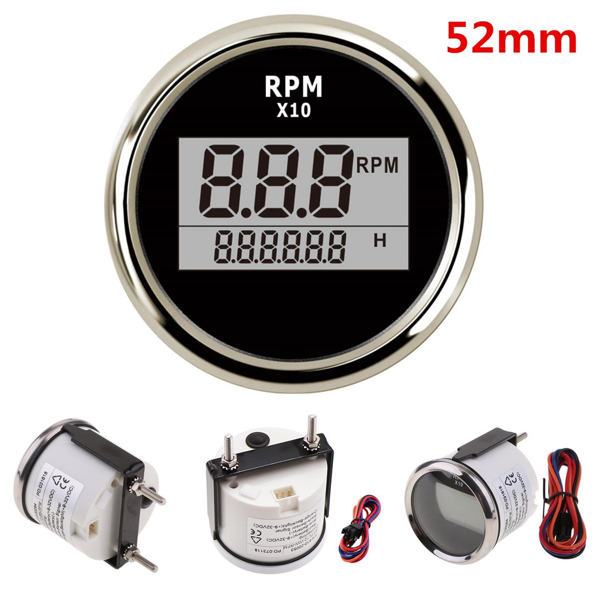 Details about 52mm Universal Car Motorcycle LED Digital Tachometer RPM  Meter Gauge Waterproof