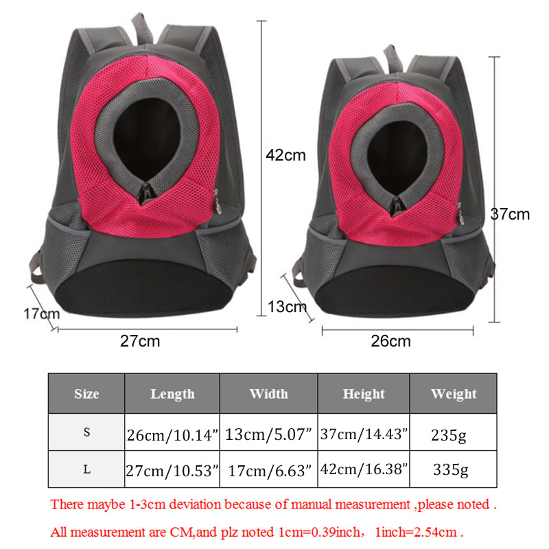 Pet Carrier Backpack Travel Bag Front for Small Dogs Cat Bike Hiking Outdoor S L