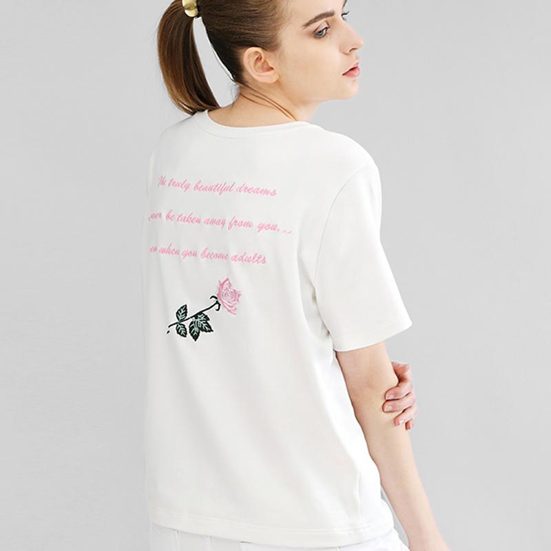 Damen Locker T Shirt Rose Stickerei Rücken Schrift Kurzarm Mädchen Sommer Top