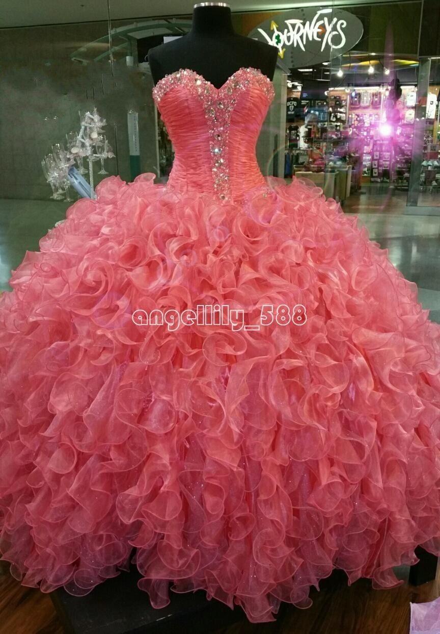Vestido de noche nuevo Rosa Baile Vestido de Quinceañera Vestidos 15 ...