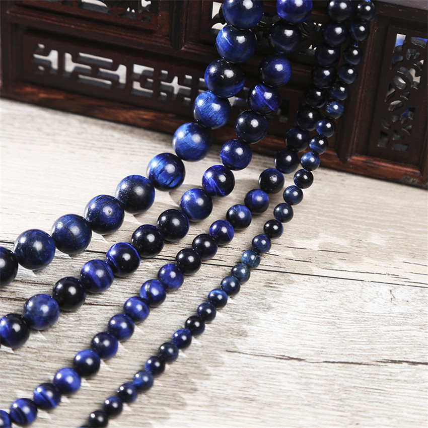 Natural 6mm-12mm Blue Tiger/'s Eye Gemstone Round Loose Beads 15/'/' Strand