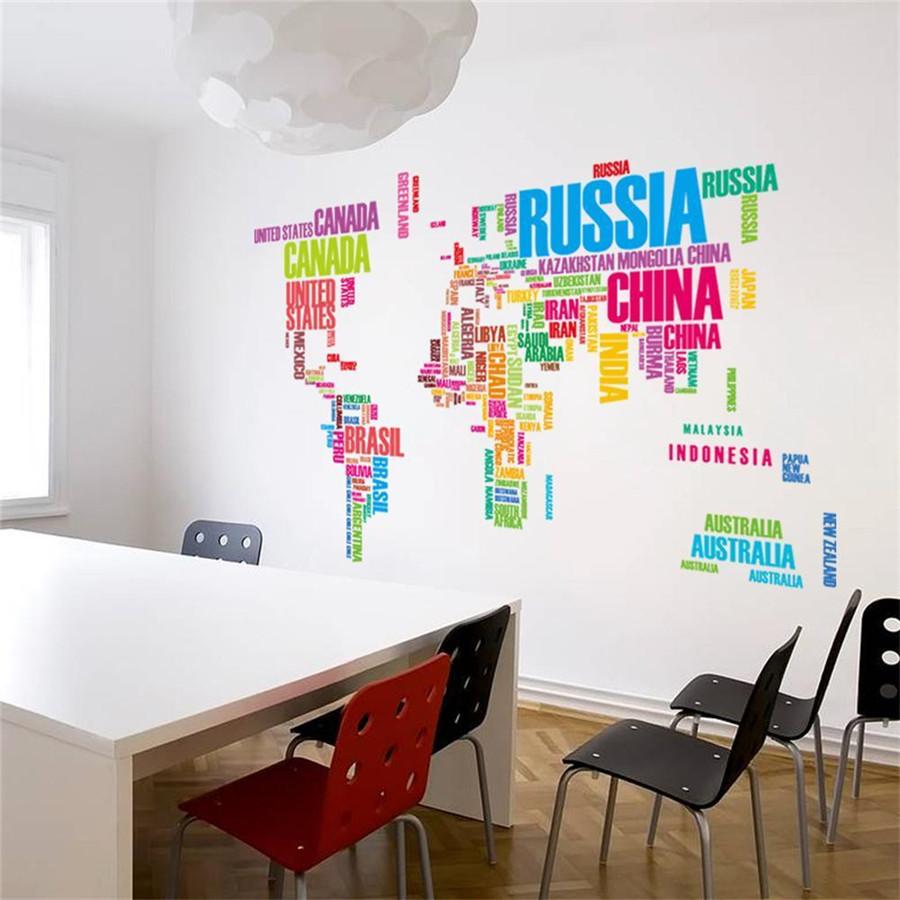 World map letter quote removable vinyl decal home decor art mural item description gumiabroncs Choice Image