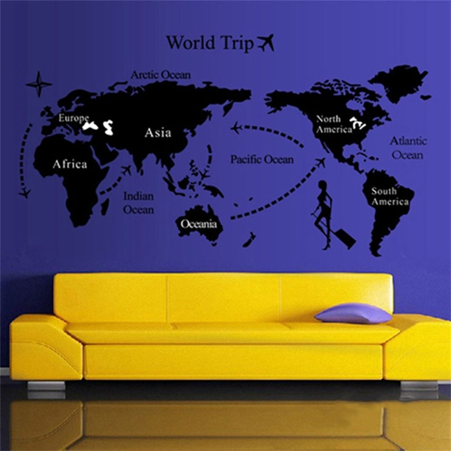 Large world trip travel map wall stickers art vinyl decal decor pattern world trip non toxic environmental protection brand new fashion design and high quality gumiabroncs Images