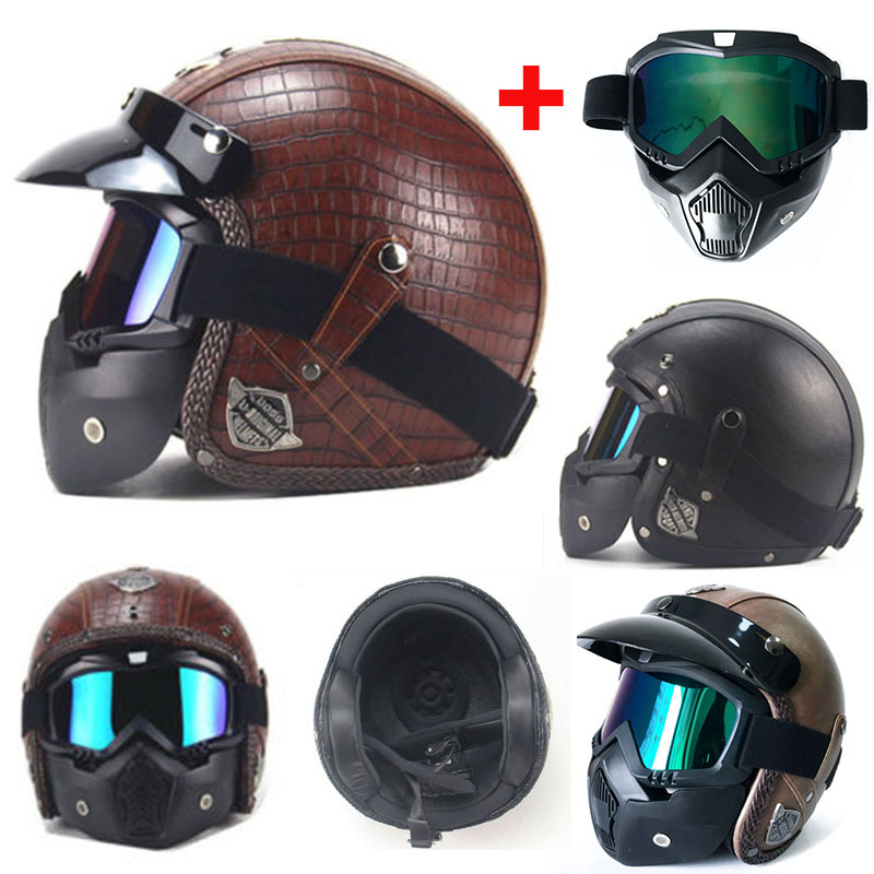Motorcycle Helmets Auto Parts and Vehicles Vintage Handmade LeatherHelmet 3/4 Motorcycle Helmet With Face Mask