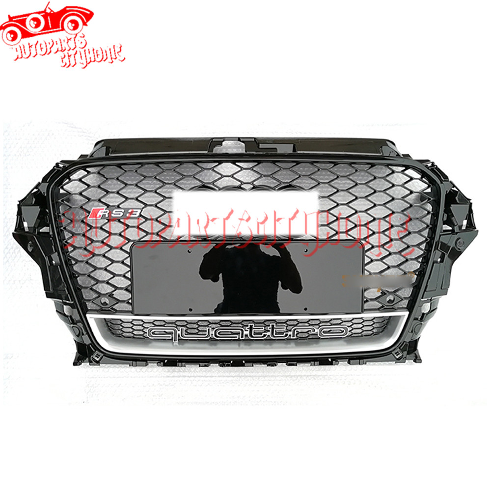 RS3 Style Grille Silver Frame Quattro logo For 2014 2015 Audi A3 S3 Sportback