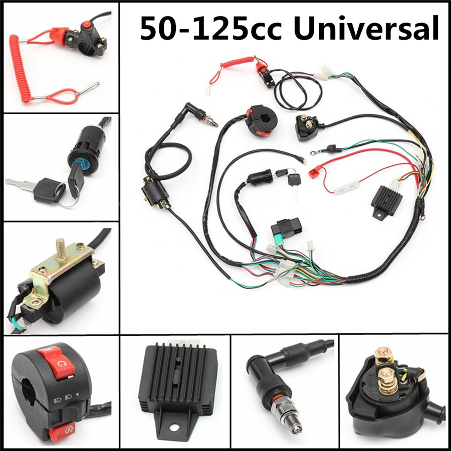 Universal Atv Wiring Harness Loom Solenoid Coil Rectifier Cdi 50 70 125cc Product Description