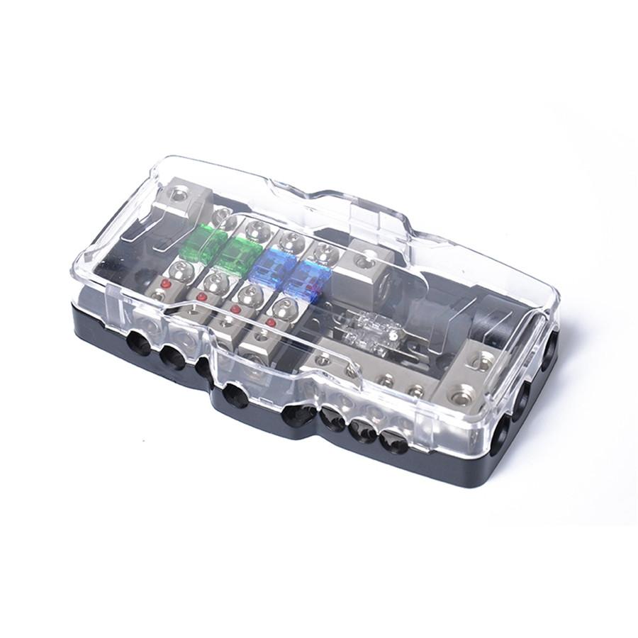 LED Car Boat RV Audio Stereo 4 Way Fuse Block 30A//60A/&Battery Distribution 0//4ga