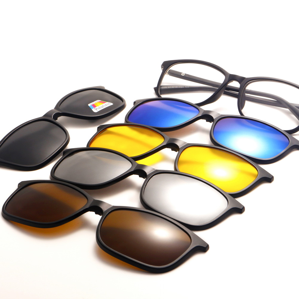 9cb25b825ce97 Magnetic Spectacle Glasses Frame With 5 Pieces Clip-on Polarized Sunglasses  UV. One Set ...