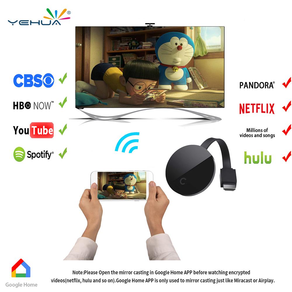Wifi 1080p Full Hd Hdmi Tv Stick Anycast Dlna Wireless Chromecast Dongle Airplay
