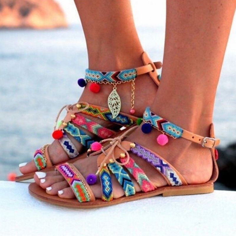 Details about Women Summer Boho Bohemian Beach Ethnic Flat Ankle Strap Sandals Shoes Plus Size