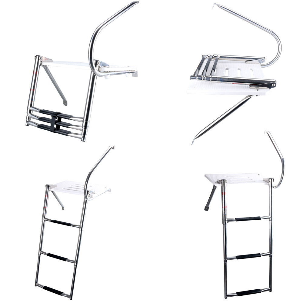 boat swim polyethylen outboard platform stainless rail  u0026 brackets 3 steps ladder