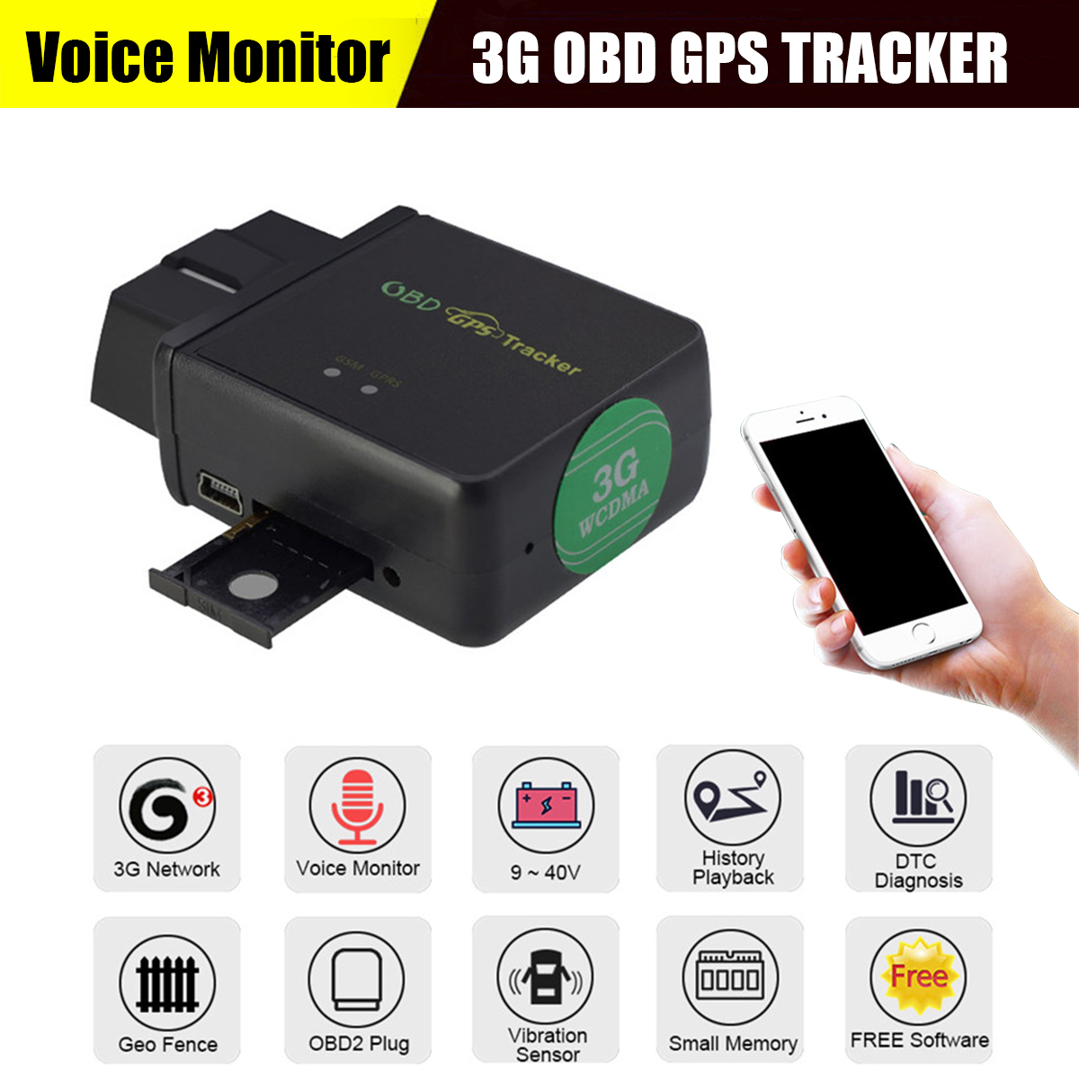 Car Anti-theft Track Real Time GPS Tracker Voice Monitor