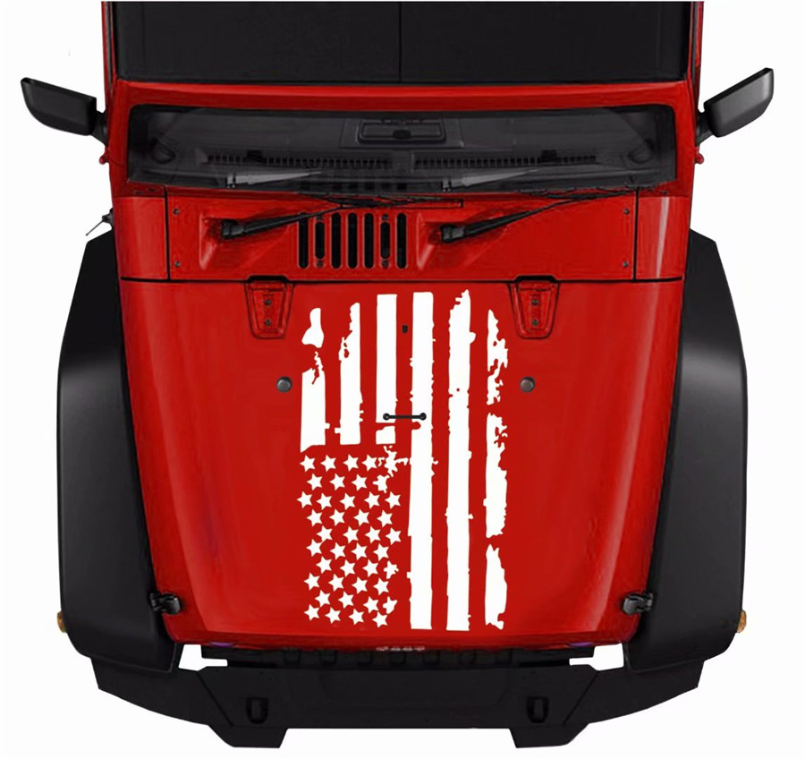 Large Size USA Flag Style White Vinyl Graphics Decal Sticker For Car Truck Hoods