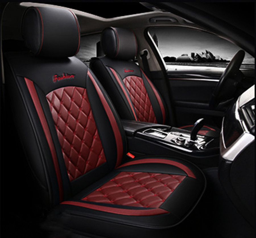 Red Wine Black Pu Leather Car Seat Covers Full Set For 5 Seats
