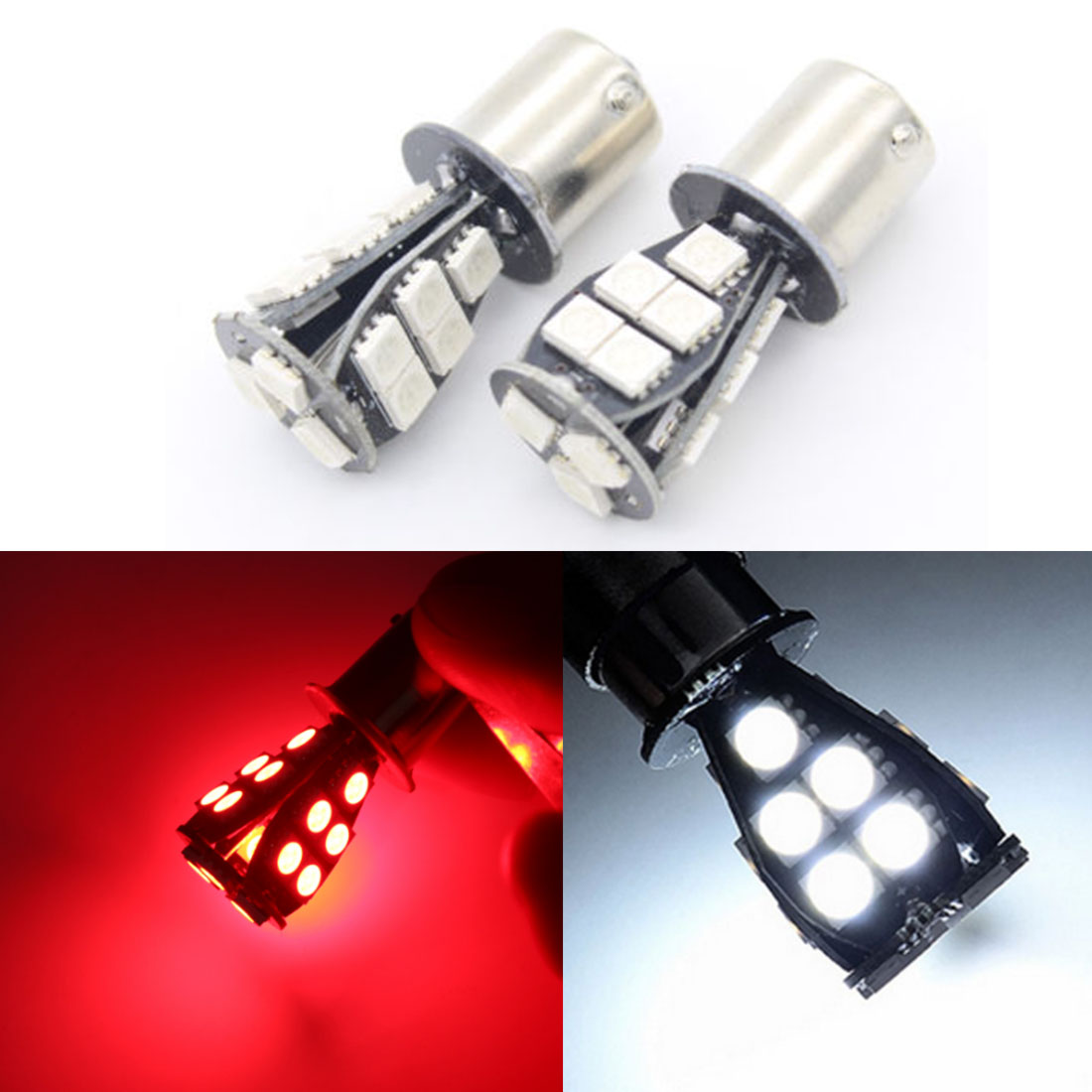 2/&1x 1157 BAY15D SMD Red White CANBUS Error Free Signal P21//5W 18 LED Light Bulb