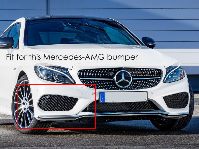 6pcs Carbon Front Bumper Canards Set for Mercedes C Class W205 AMG Sport pz37