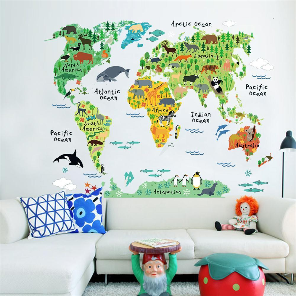 Zoom art diy vinyl wall sticker decal world map kids room office brand new fashion design and high quality material pvc colormulti package 1x wall decal composing size60x90cm 1sheets finished size95x73cm gumiabroncs Images