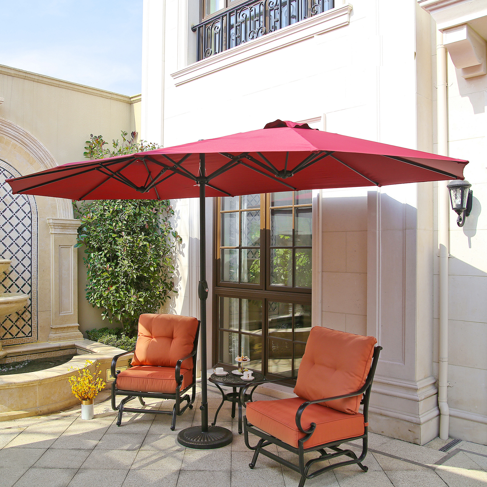 Charmant Details About 15u0027 220g Market Outdoor Twin Sun Canopy Double Sided Aluminum  Patio Umbrella