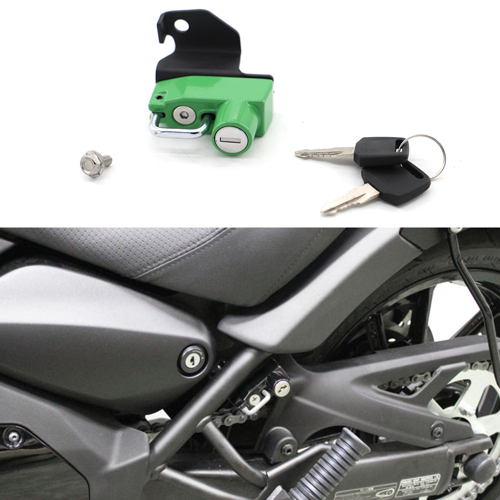 Motorcycle Helmet Lock with Keys Anti-Theft For Kawasaki Z125//Pro 2016 and later Red