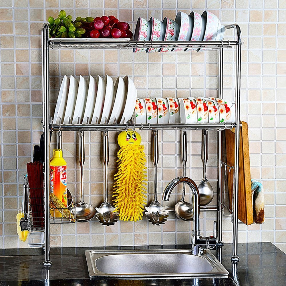 Stainless Steel Over Sink Dish Drying Rack Bowl Shelf Kitchen