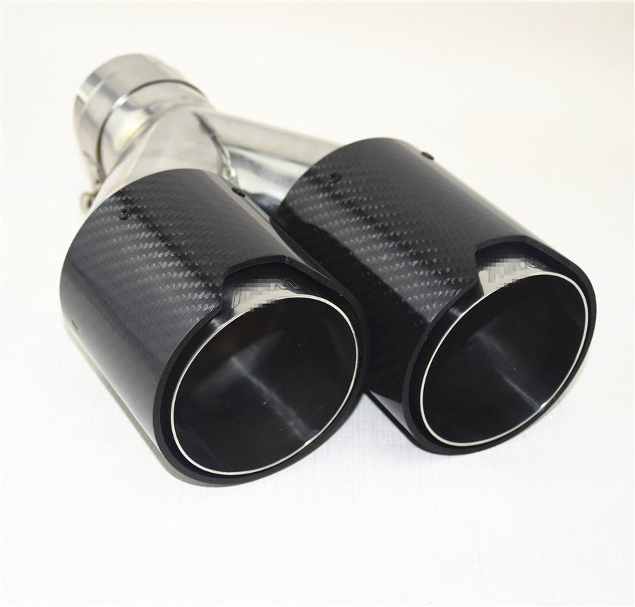"""2x Exhaust Tip Dual Muffler Pipe Gloss Carbon Fiber Stainless Clamp On 2.5/""""Inlet"""