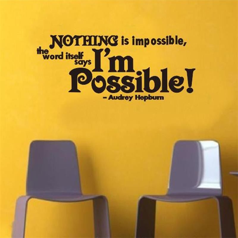 Wall Sticker Nothing Is Impossible Audrey hepburn Home Words Decor ...