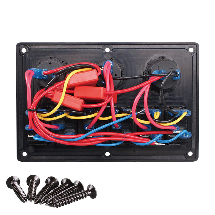 Car 6 Way Enclosed Rocker Switch Voltmeter Cigarette Lighte Carbon 12 Volt Toggle Wiring Diagram Further Freightliner 2010 100 Brand New And High Quality