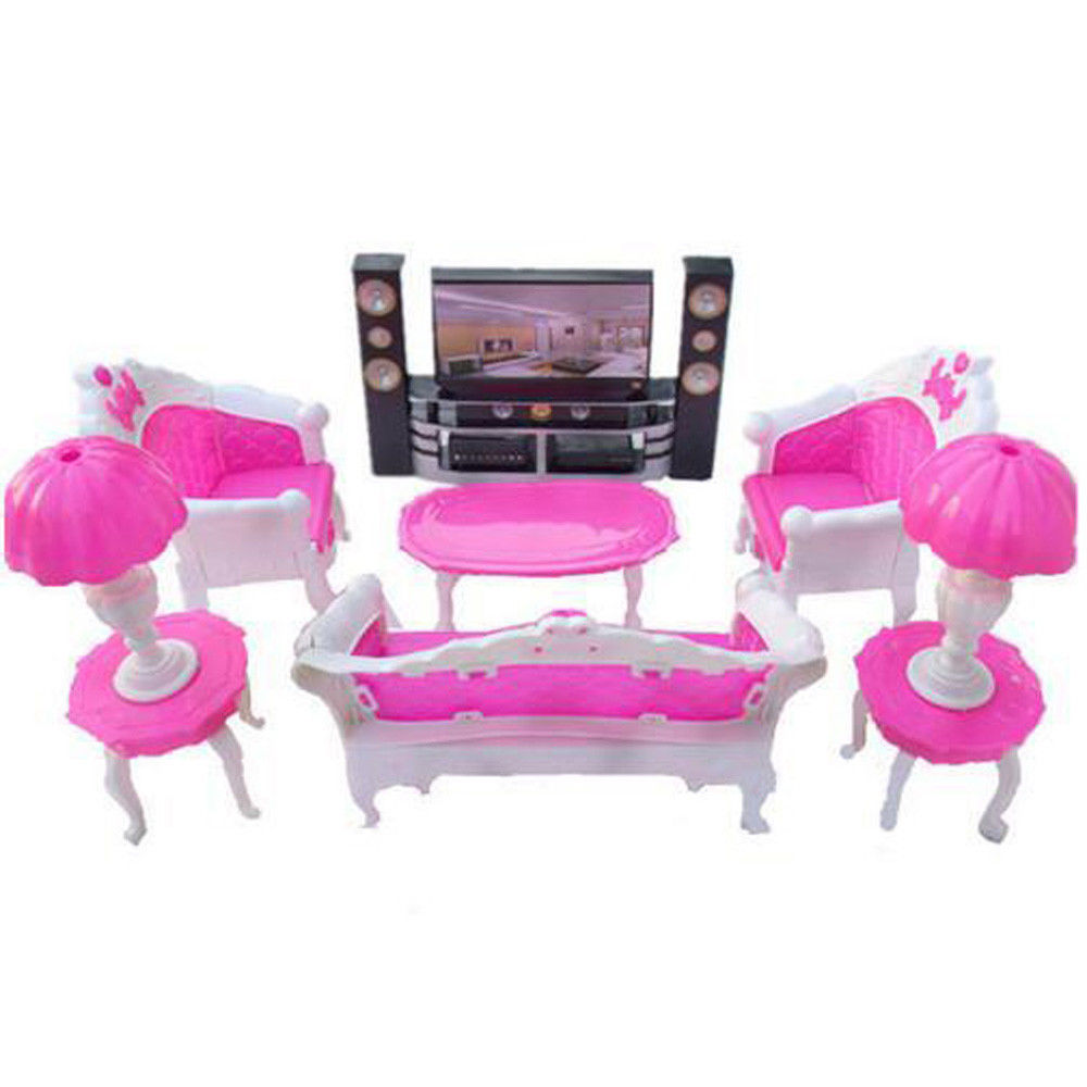 hot 6pcs barbie dollhouse m bel set sofa couch stuhl sessel tv schrank neu ebay. Black Bedroom Furniture Sets. Home Design Ideas