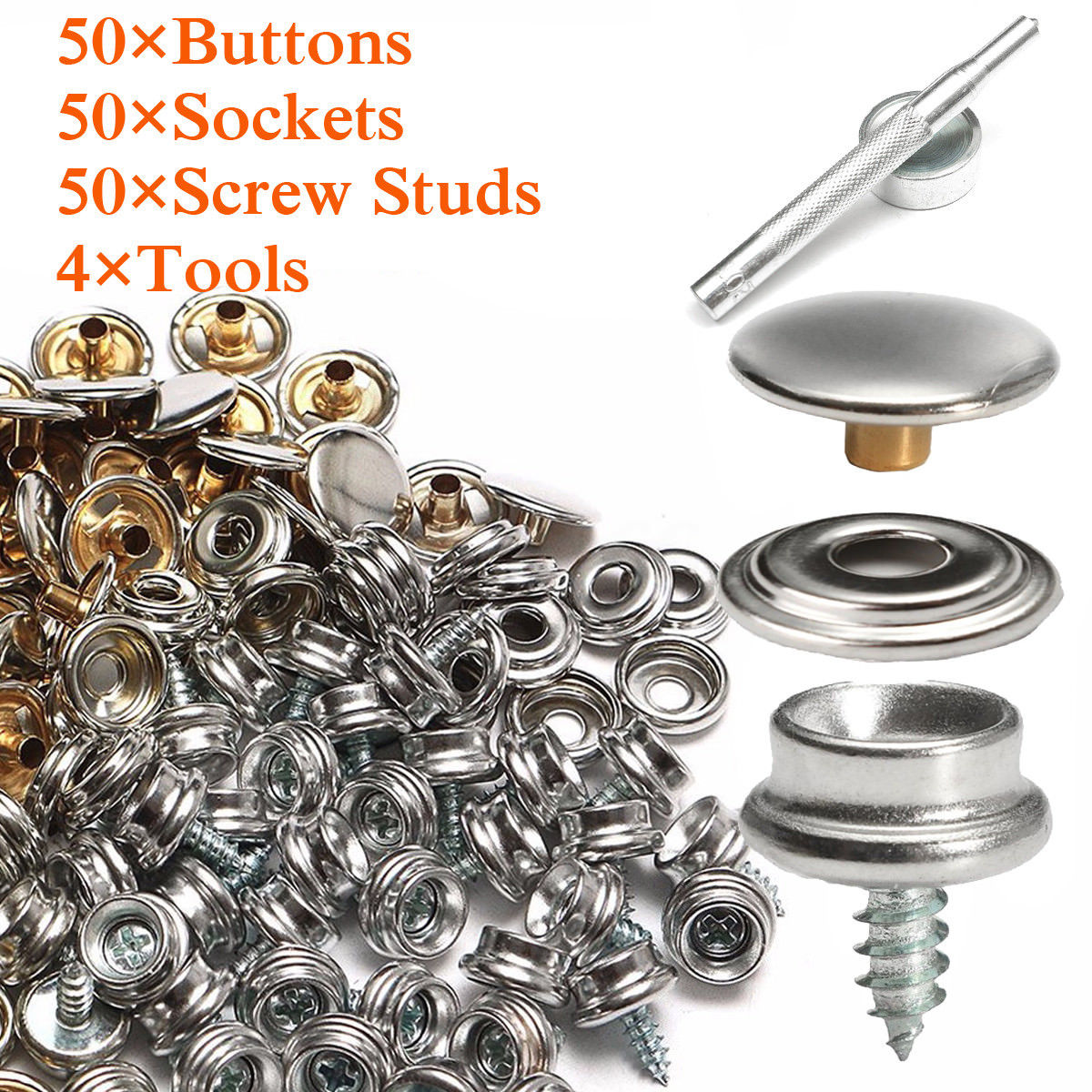Hearty 15mm Snap Fastener Button Screw Studs Kit For Boat Cover Home Improvement Tent Boat Parts & Accessories