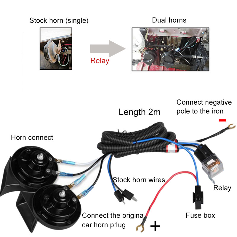 12V Air Horn Motorcycle Car Truck Boat Universal Wiring Harness Relay Fuse  Kit   eBay   Motorcycle Wiring Harness Kit      eBay