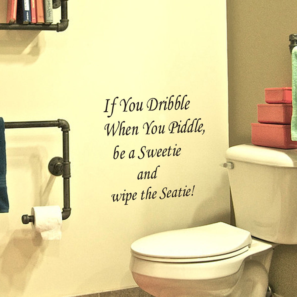 Gl Diy Quote Bathroom Decor Art Wall Stickers Toilet Seat Removable Decal Mural