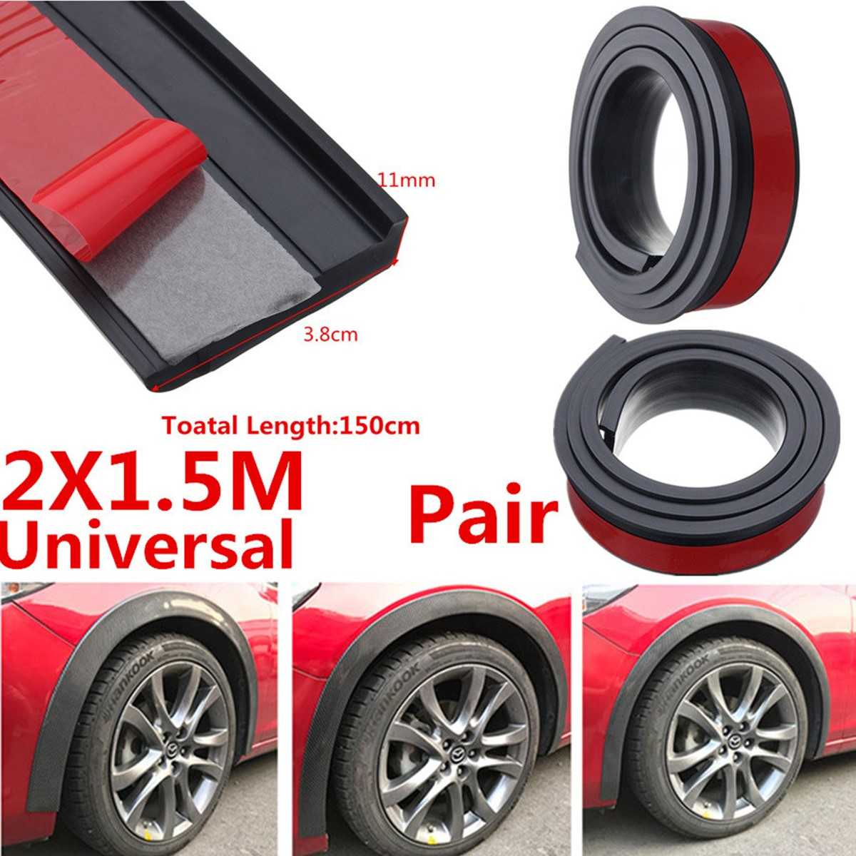 2X 4.5cm//1.5M Width Car Fender Flare Wheel Eyebrow Trim Protector Lip Universal