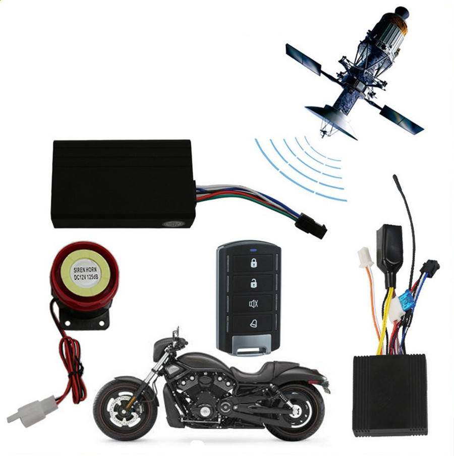 Motorcycle GPS Tracker Kit One Way Remote Engine Start Alarm