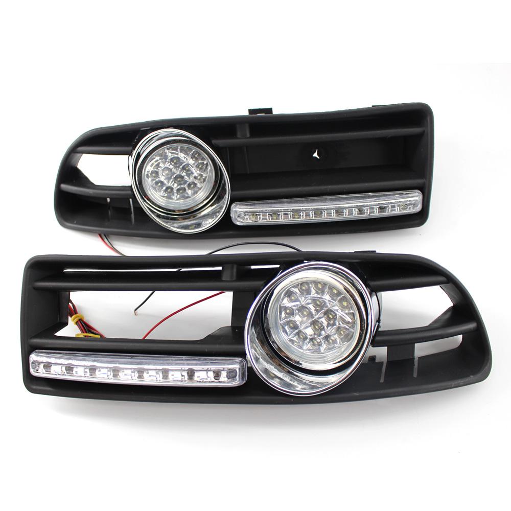 Car GRILLE FOG Light Fit FOR VW JETTA BORA MK4 LED DRL Yellow Lens ABS white