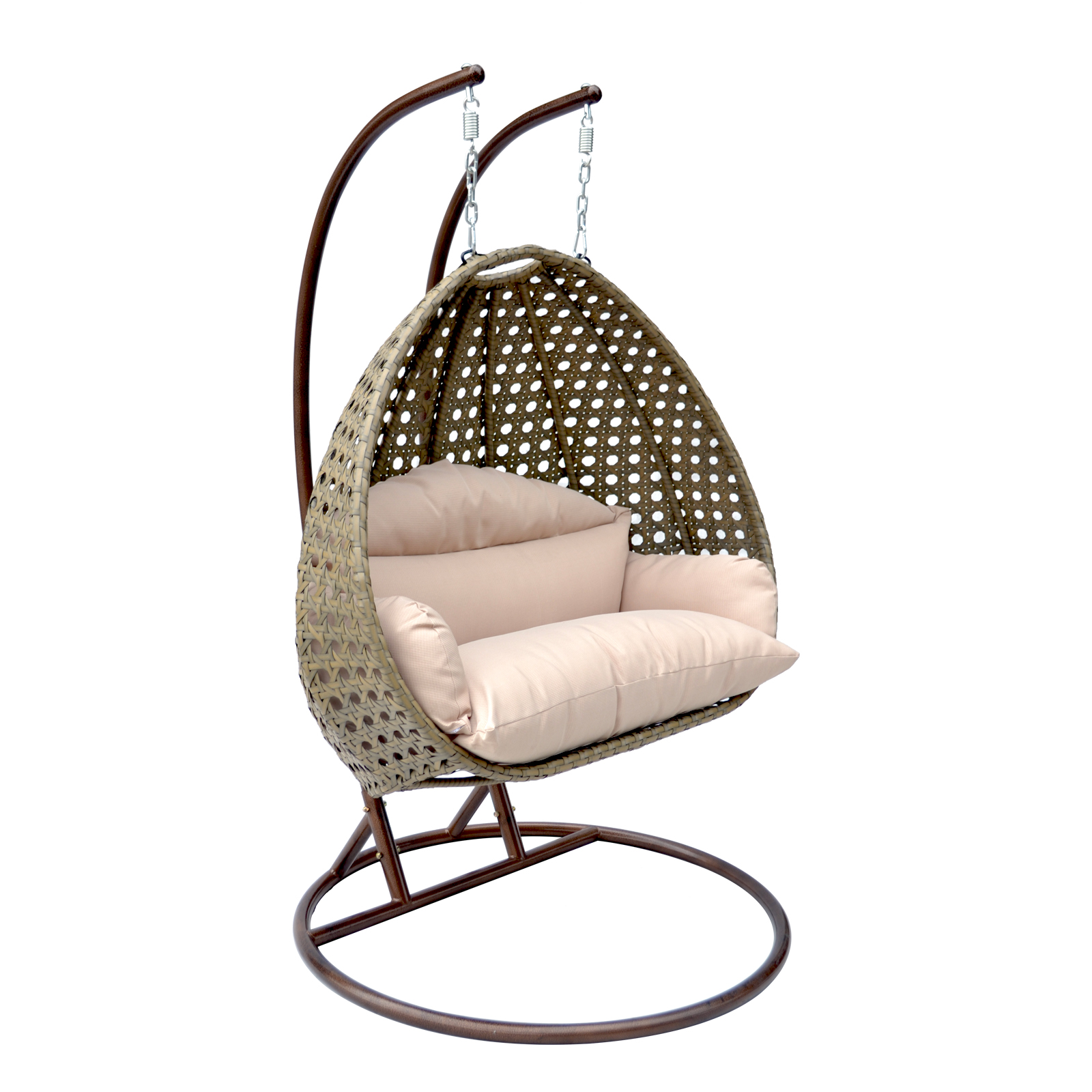 2 Person Wicker Egg Basket Swing Chair Patio Outdoor Furniture Hanging Hammock