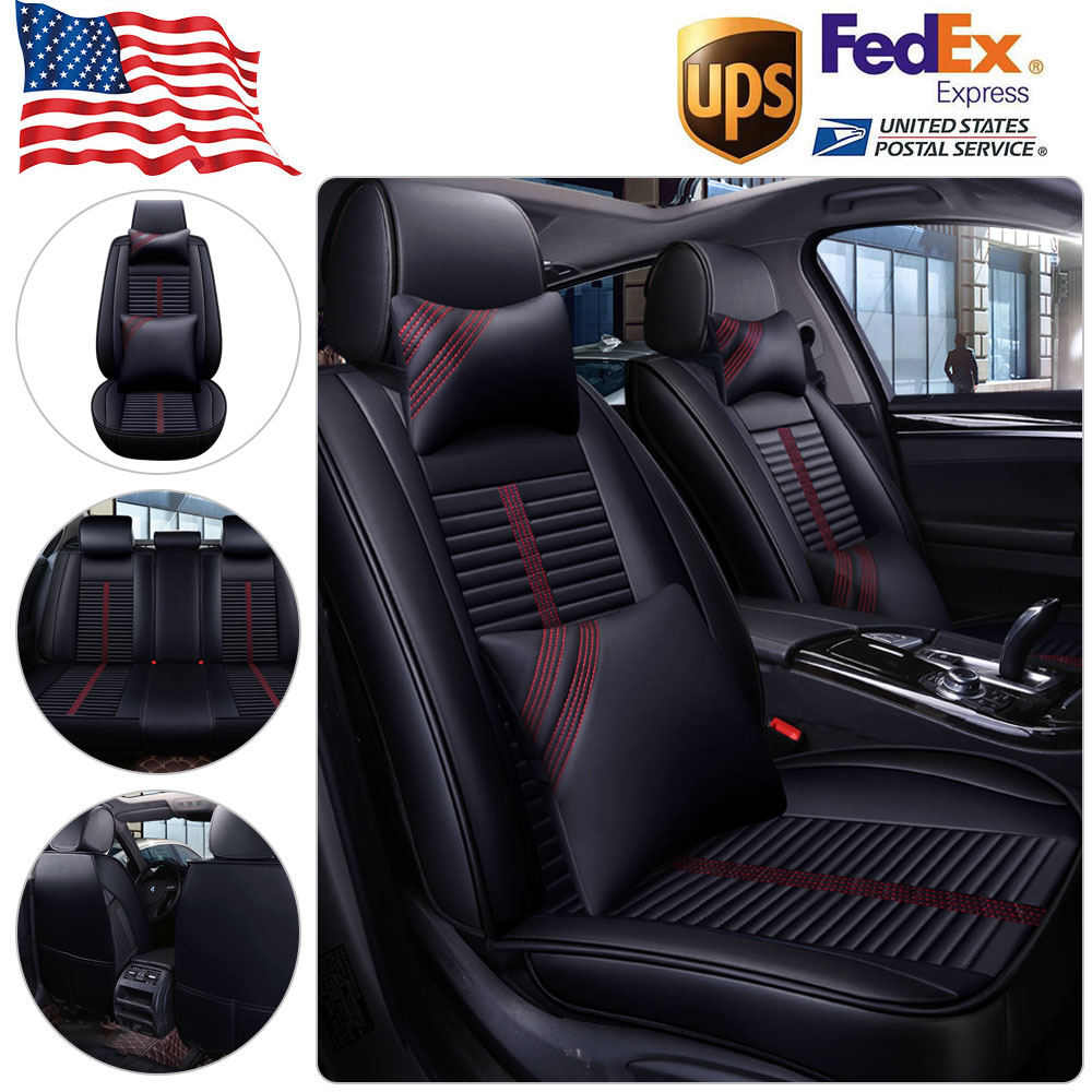 Luxury Full Set Polyester Car Seat Covers Protectors Black and Grey Trax 9 Piece