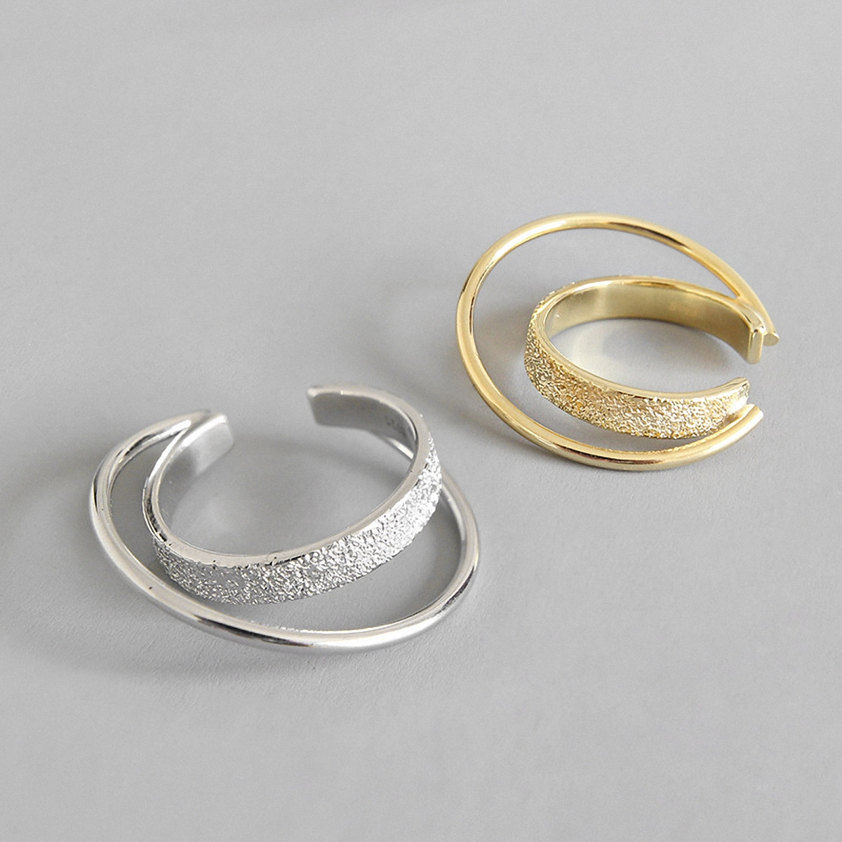 Unique Design 925 Sterling Silver Crossover Double Layers Round Rings for Women