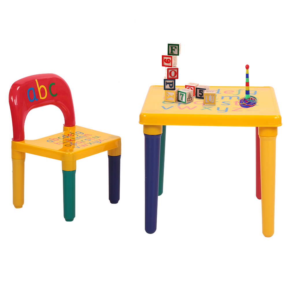 Kids Toddlers Childs Gift ABC TABLE AND CHAIR SET Alphabet Childrens Plastic