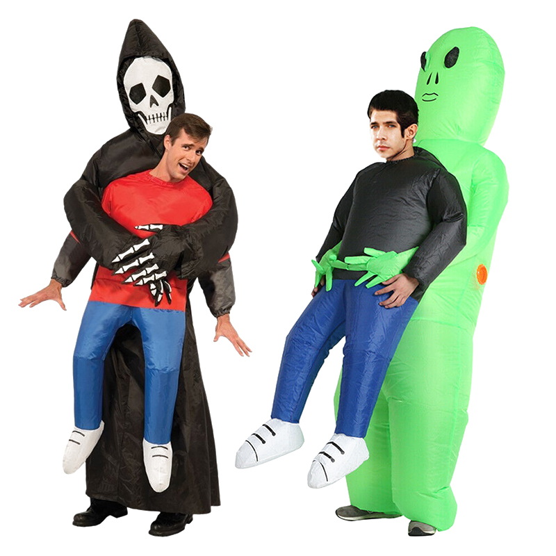 Mens Suited Alien Inflatable Arms Halloween Stag Do Fancy Dress Costume Outfit