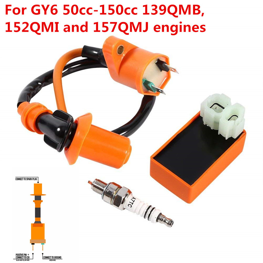 New Gy6 Cdi & Ignition Coil & Racing Spark Plug 50cc 125cc 150cc Scooter Atv Quad Atv,rv,boat & Other Vehicle