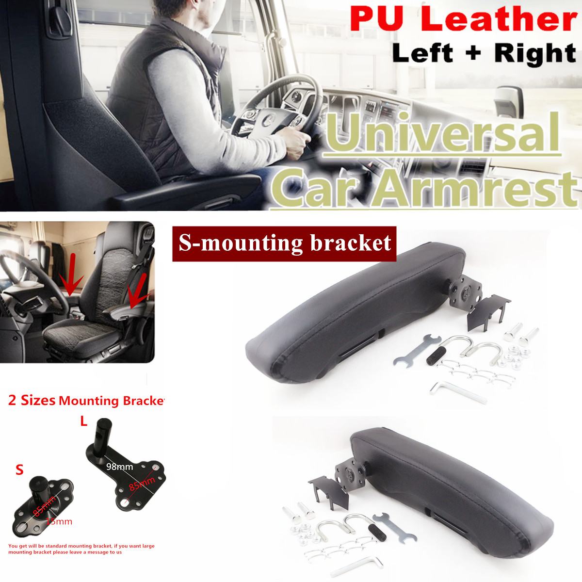 One Pair Comfortable Car Truck Caravan Seat Armrests Black PU Leather Left+Right
