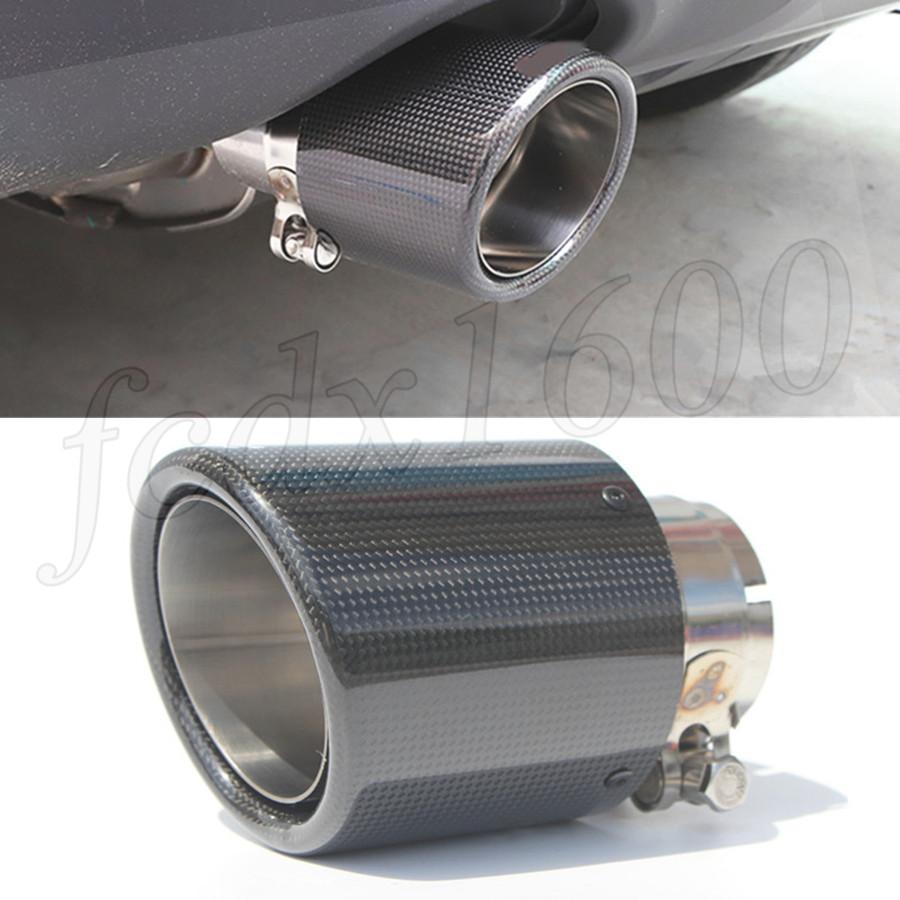 "Dull Black Steel+Carbon Fiber Exhaust Tip Car Single-wall Muffler Tail Pipe 2.5/"""