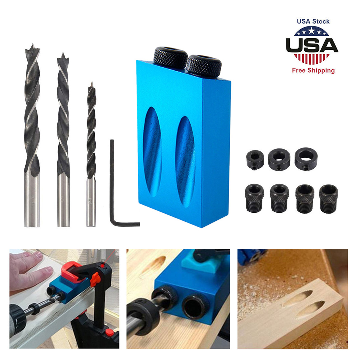 Pocket Hole Screw Jig With Dowel Drill Set Carpenters Wood Joint Tools Craft DIY