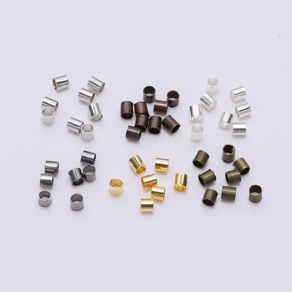 500pcs Alloy Tube End Crimp Beads Spacers For DIY Jewelry Finding 1.5-2.5mm