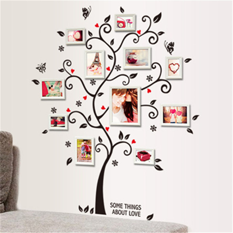 photo picture frame family tree bird wall sticker removable decal