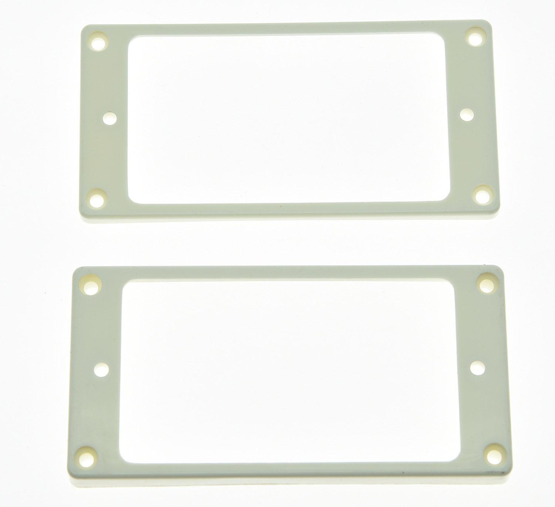 2x White Humbucker Pickup Ring Curved Bottom Frame fits Epiphone LP ...