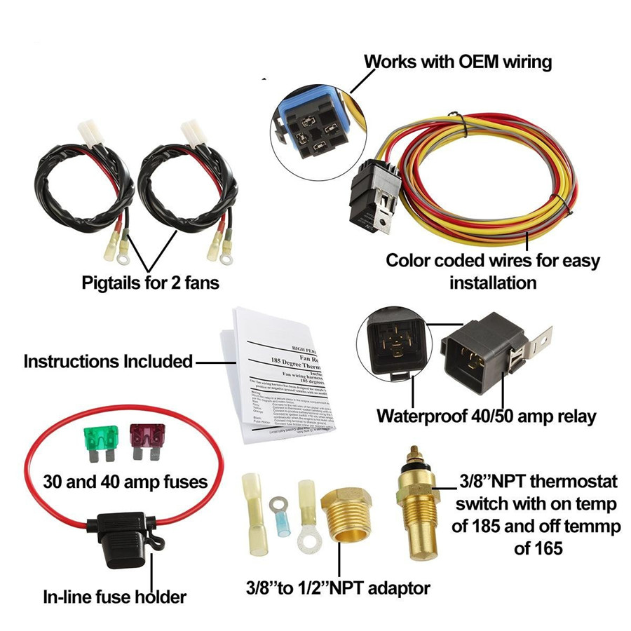 Dual Electric Car Cooling Fan Wiring Harness Kit 185  165